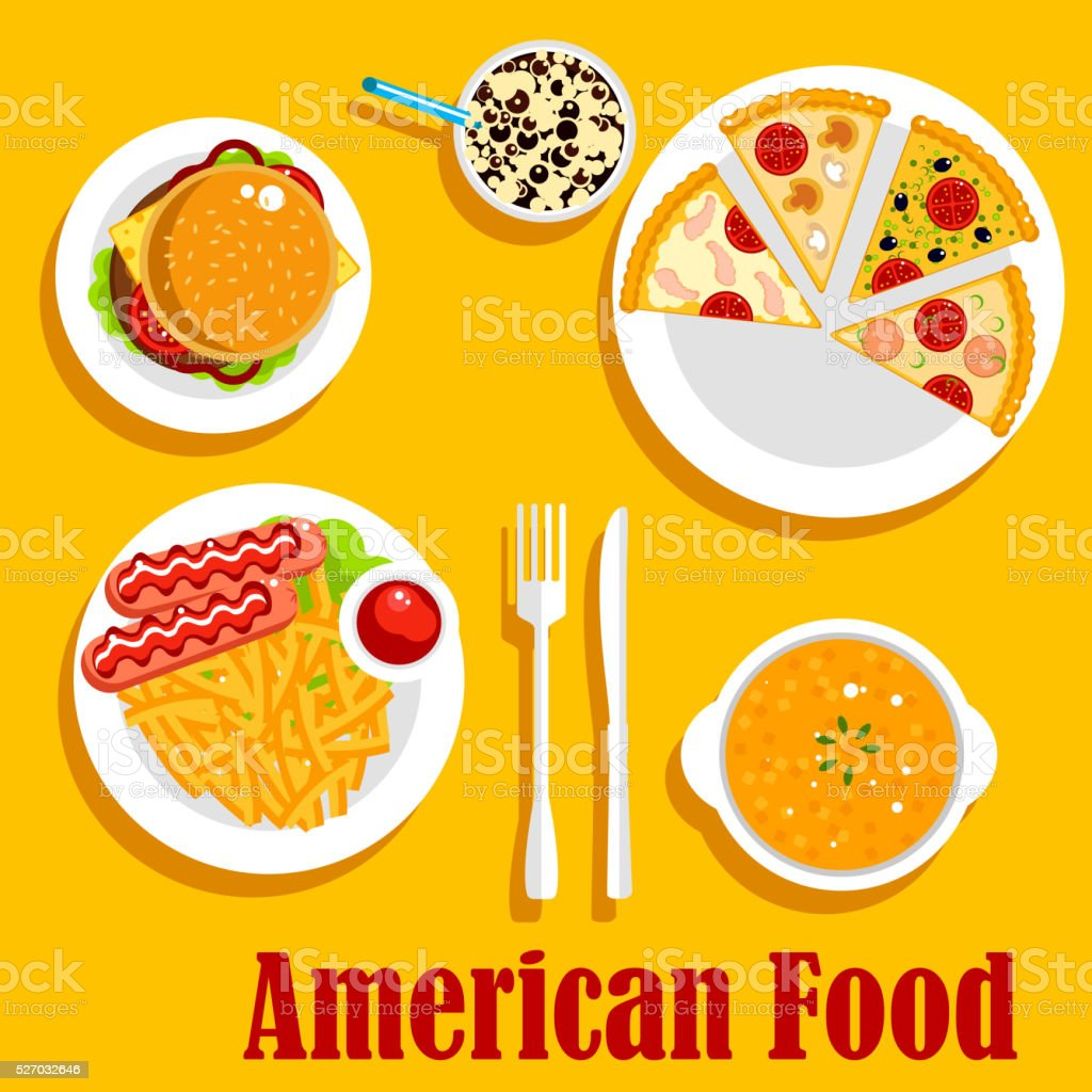 Fast food lunch of american cuisine flat icon vector art illustration