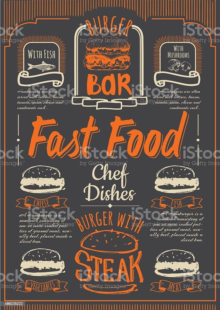 Fast Food menu on the black chalkboard. vector art illustration