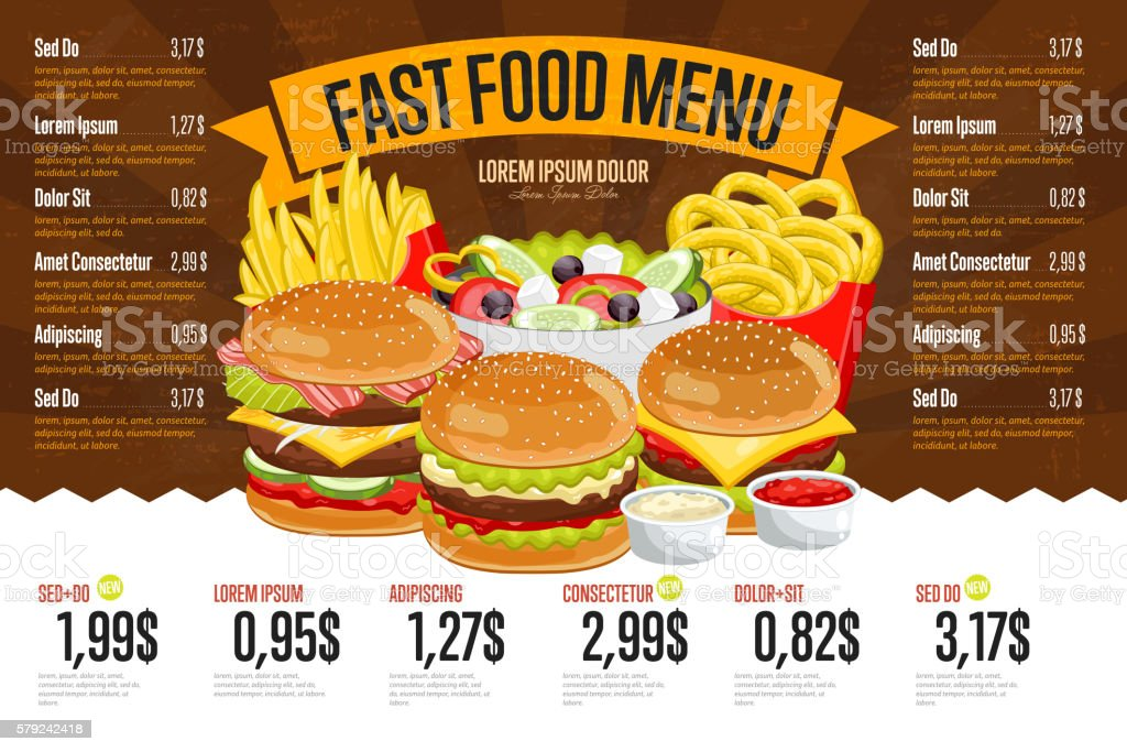 Fast food menu template. vector art illustration