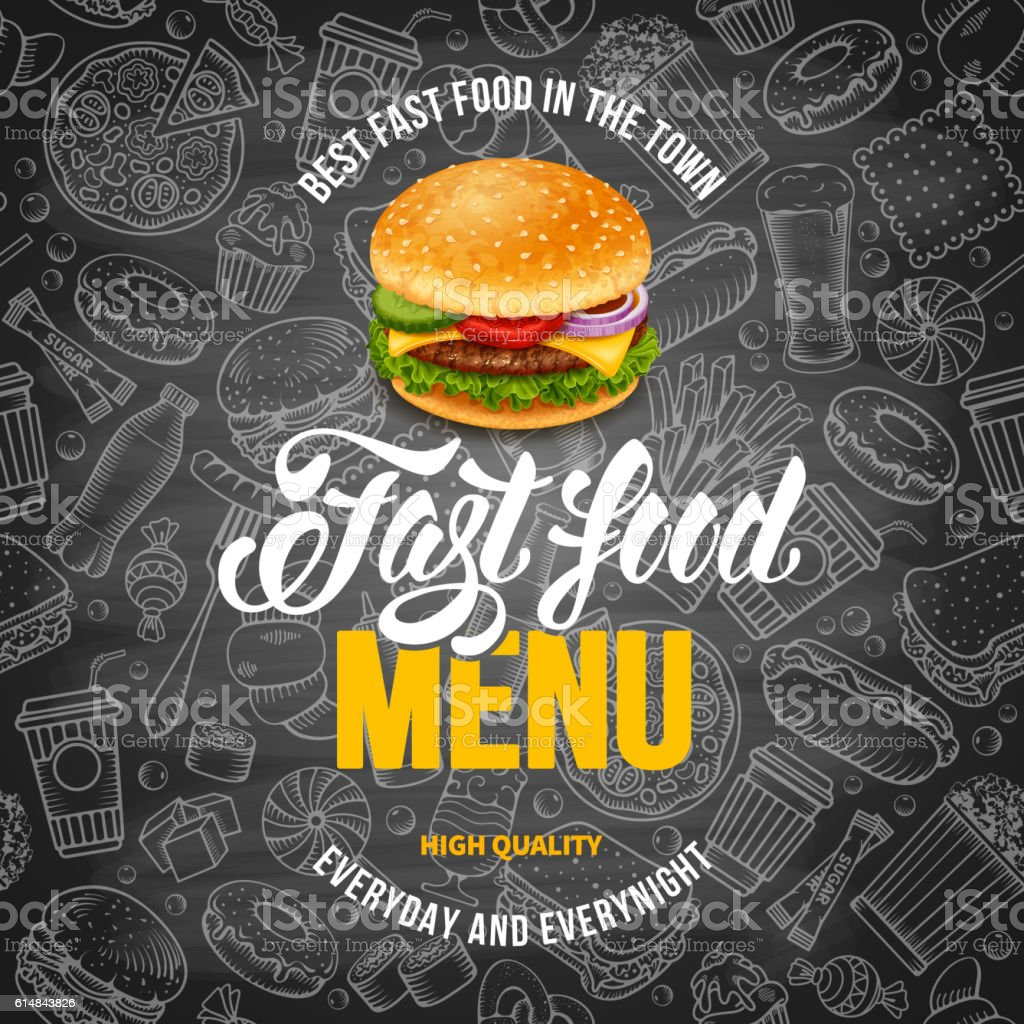Fast Food Menu Template vector art illustration