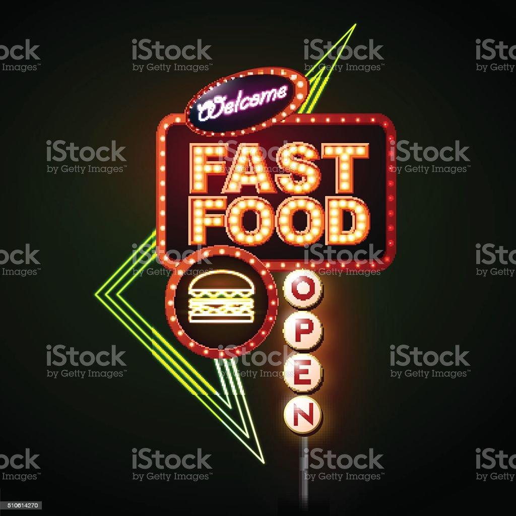 Fast Food Neon sign vector art illustration