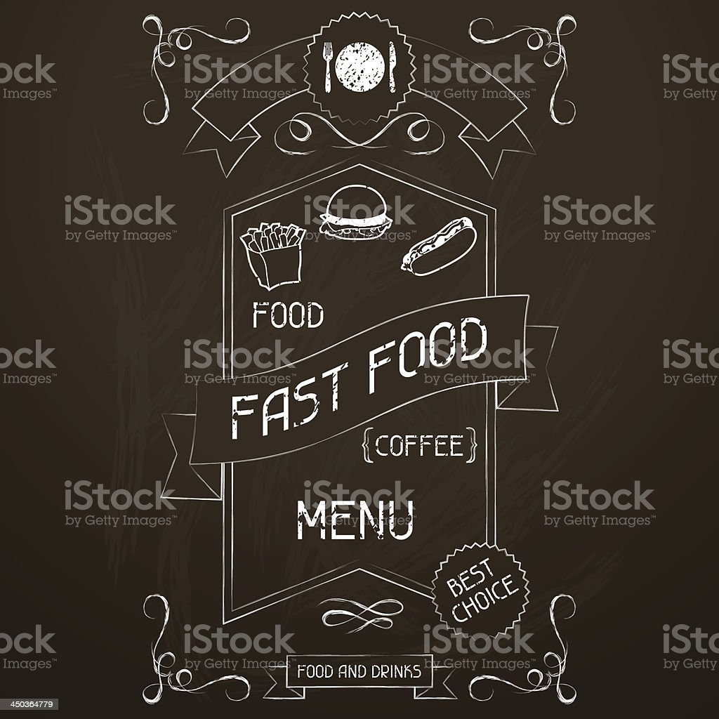 Fast food on the restaurant menu chalkboard. royalty-free stock vector art