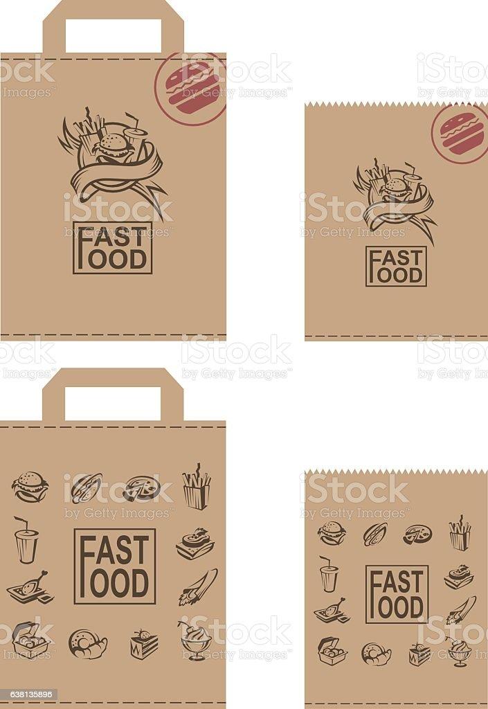 fast food packages set vector art illustration
