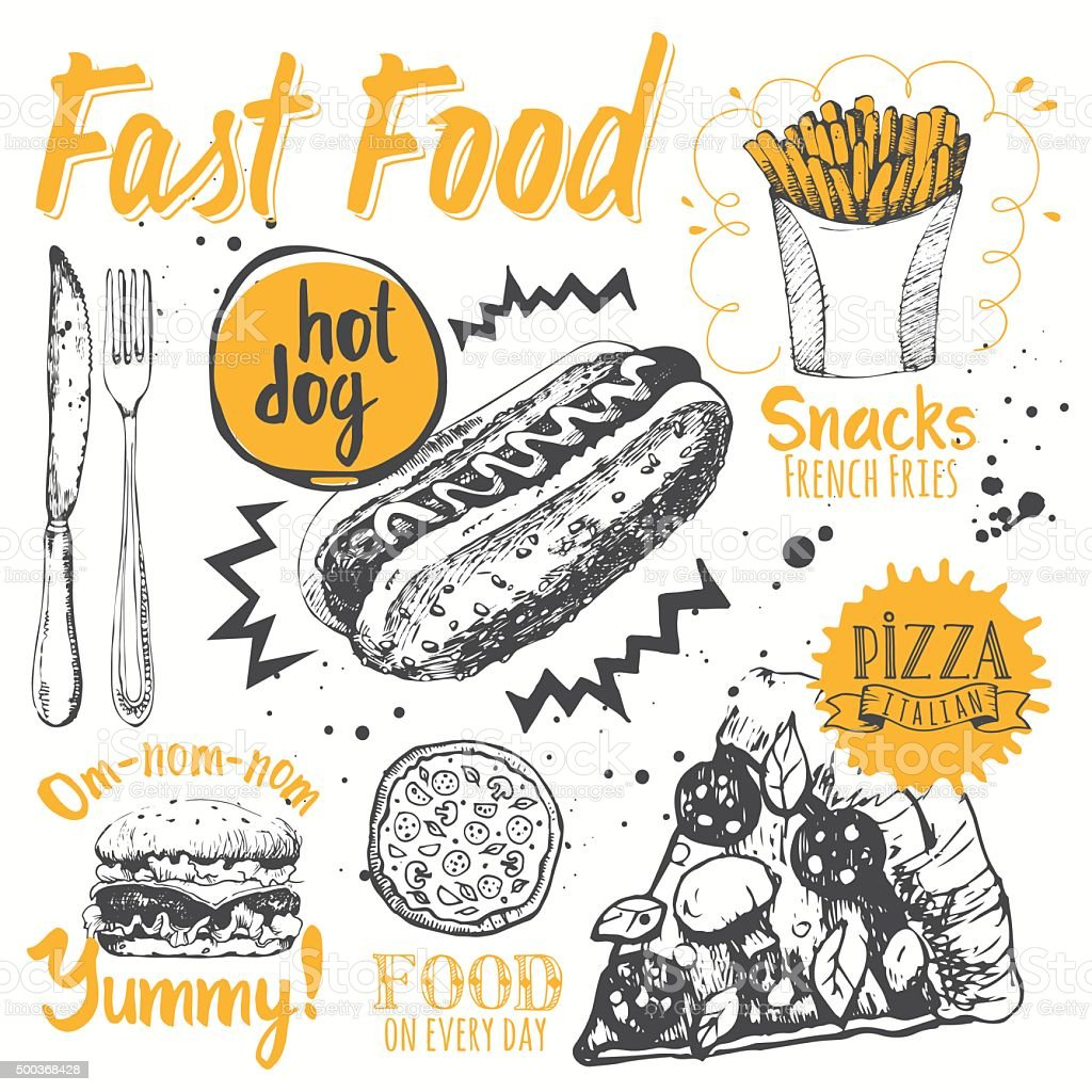 Fast food party. Vector illustration of festive traditional American food. vector art illustration