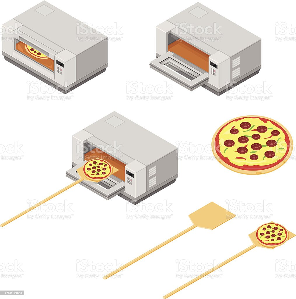 Fast Food Pizza Oven royalty-free stock vector art