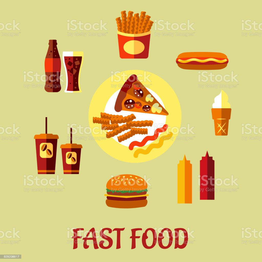 For restaurant pictures graphics illustrations clipart photos - Fast Food Poster Royalty Free Stock Vector Art