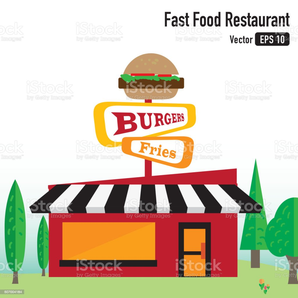 Fast Food Restaurant Building on Green Scenery vector art illustration