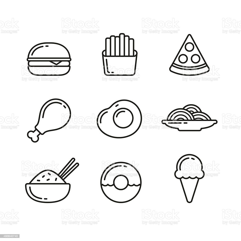 Fast food restaurant line icons vector art illustration