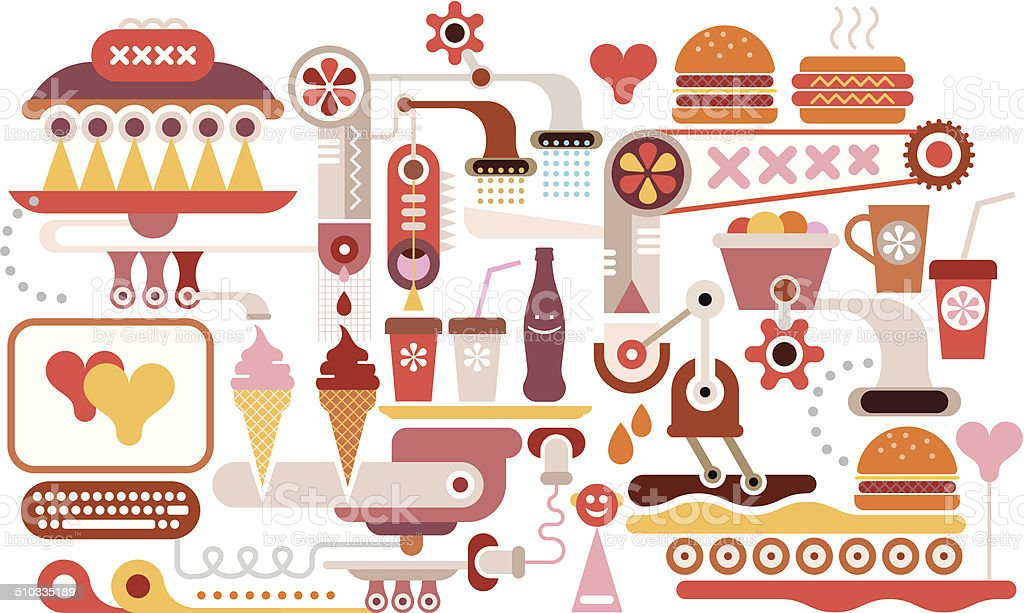 Fast Food Restaurant vector art illustration