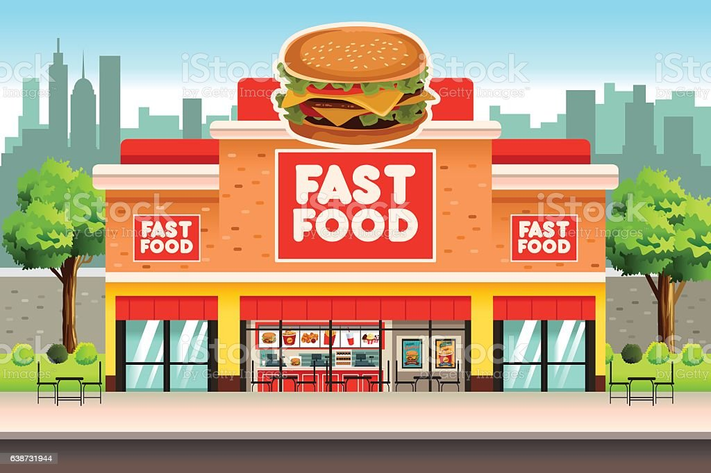 Fast Food Restaurant vector art illustration