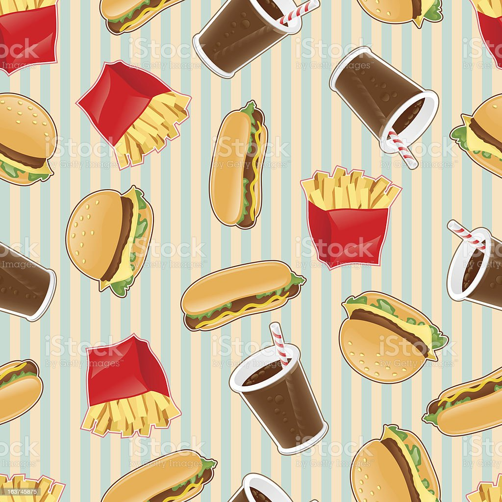 Fast food seamless pattern background royalty-free stock vector art