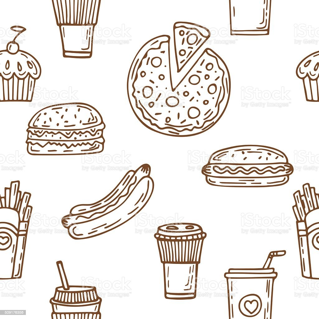 Fast food seamless pattern. Hand drawn food background. Hot dog, vector art illustration
