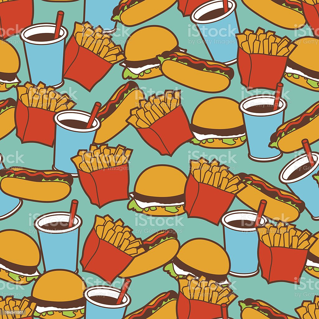 Fast food seamless pattern in retro style. royalty-free stock vector art