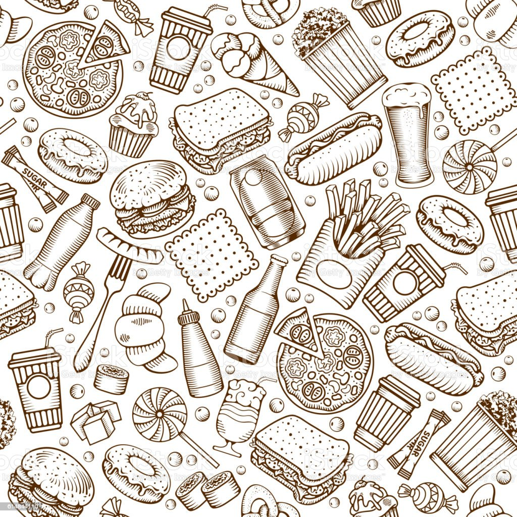 Fast Food seamless pattern vector art illustration