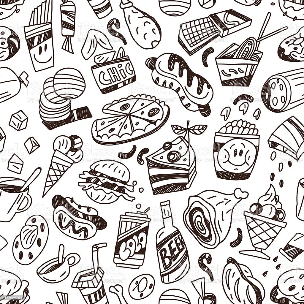 fast food - seamless vector background royalty-free stock vector art