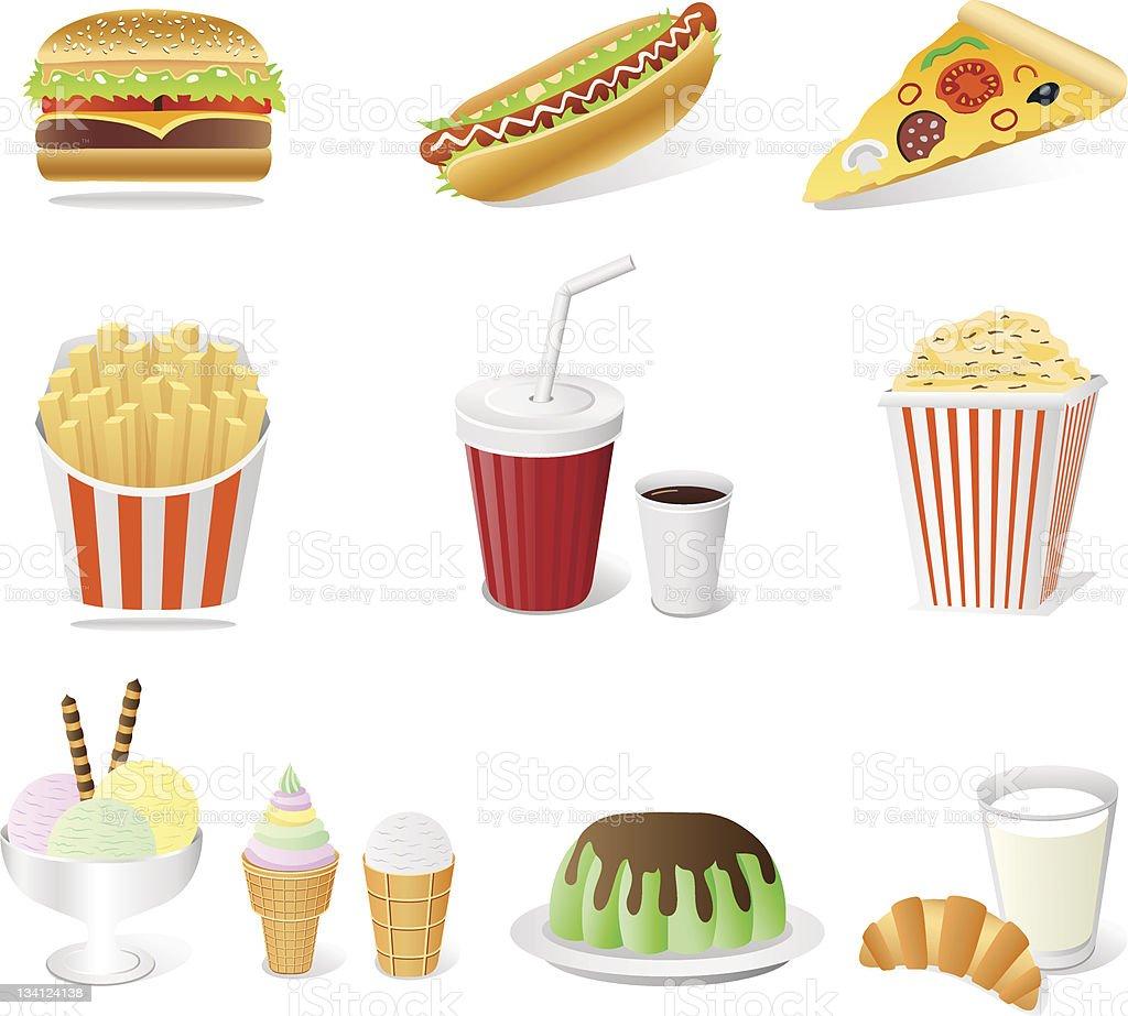 fast food set royalty-free stock vector art