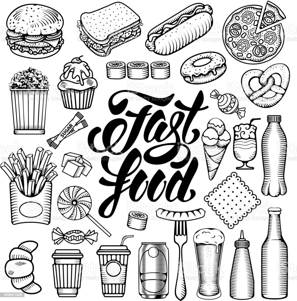 Fast food set vector art illustration