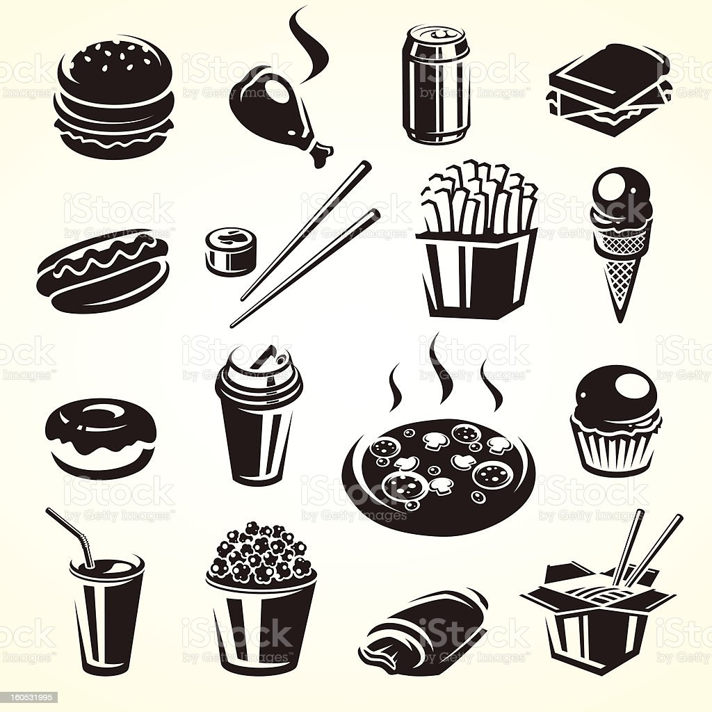 Fast food set. Vector royalty-free stock vector art