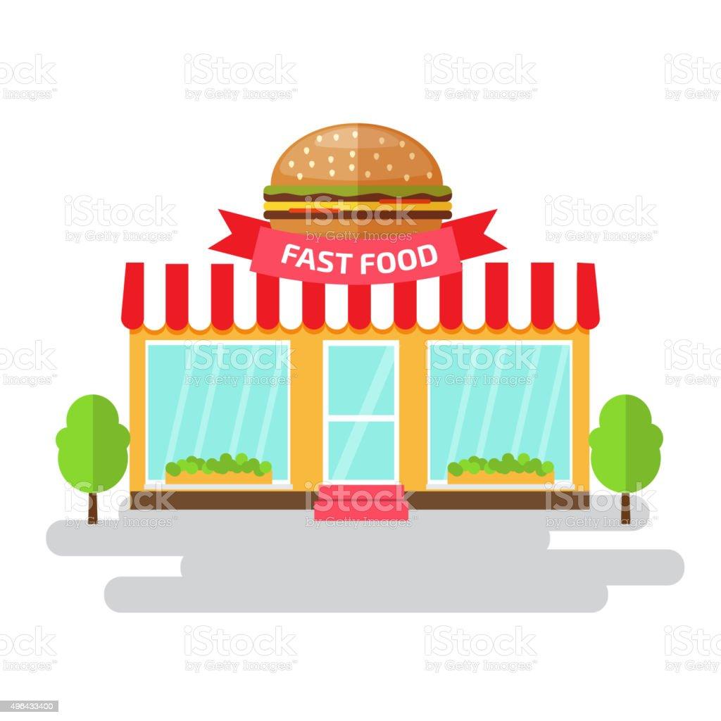 Fast food shop of flat style building. Vector illustration. vector art illustration