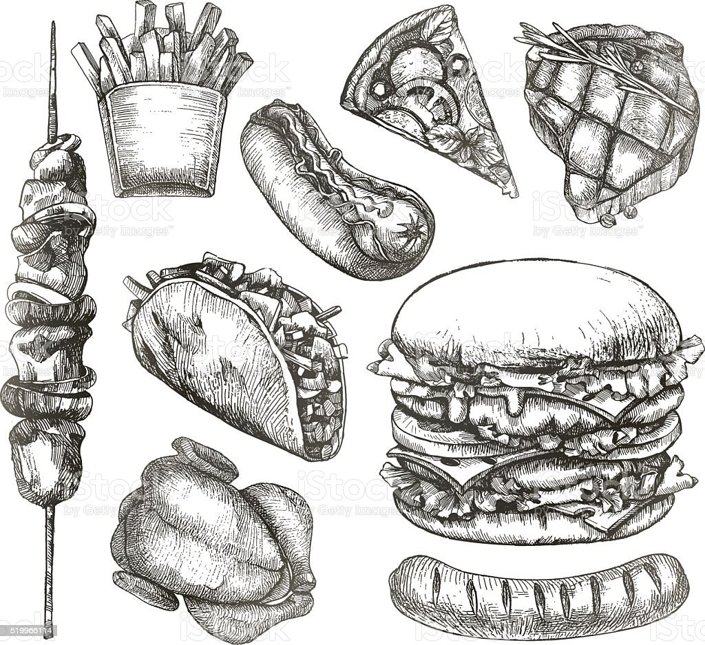 Fast food, sketches vector art illustration