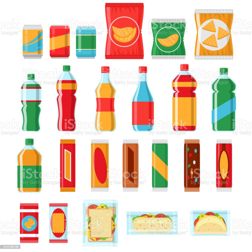 Fast food snacks and drinks flat vector icons. Vending machine vector art illustration