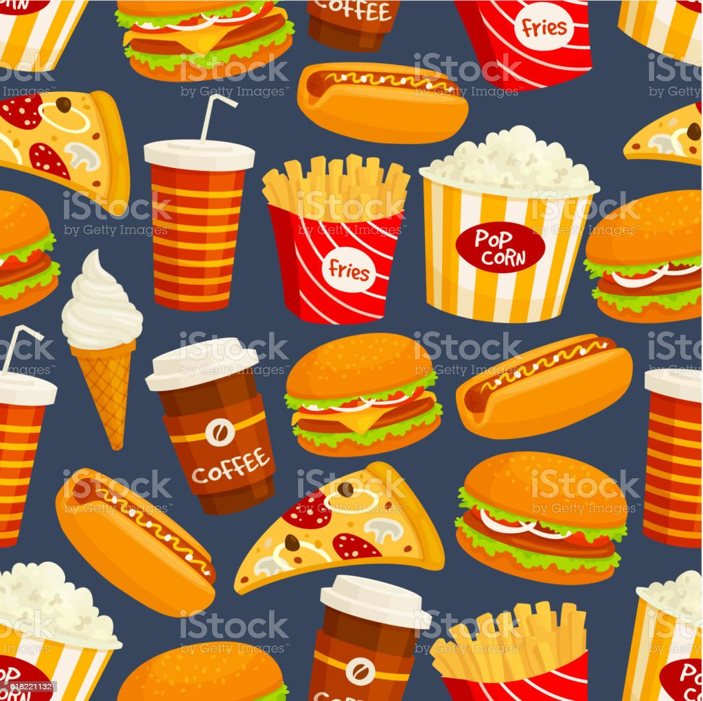 Fast food snacks and drinks seamless pattern vector art illustration