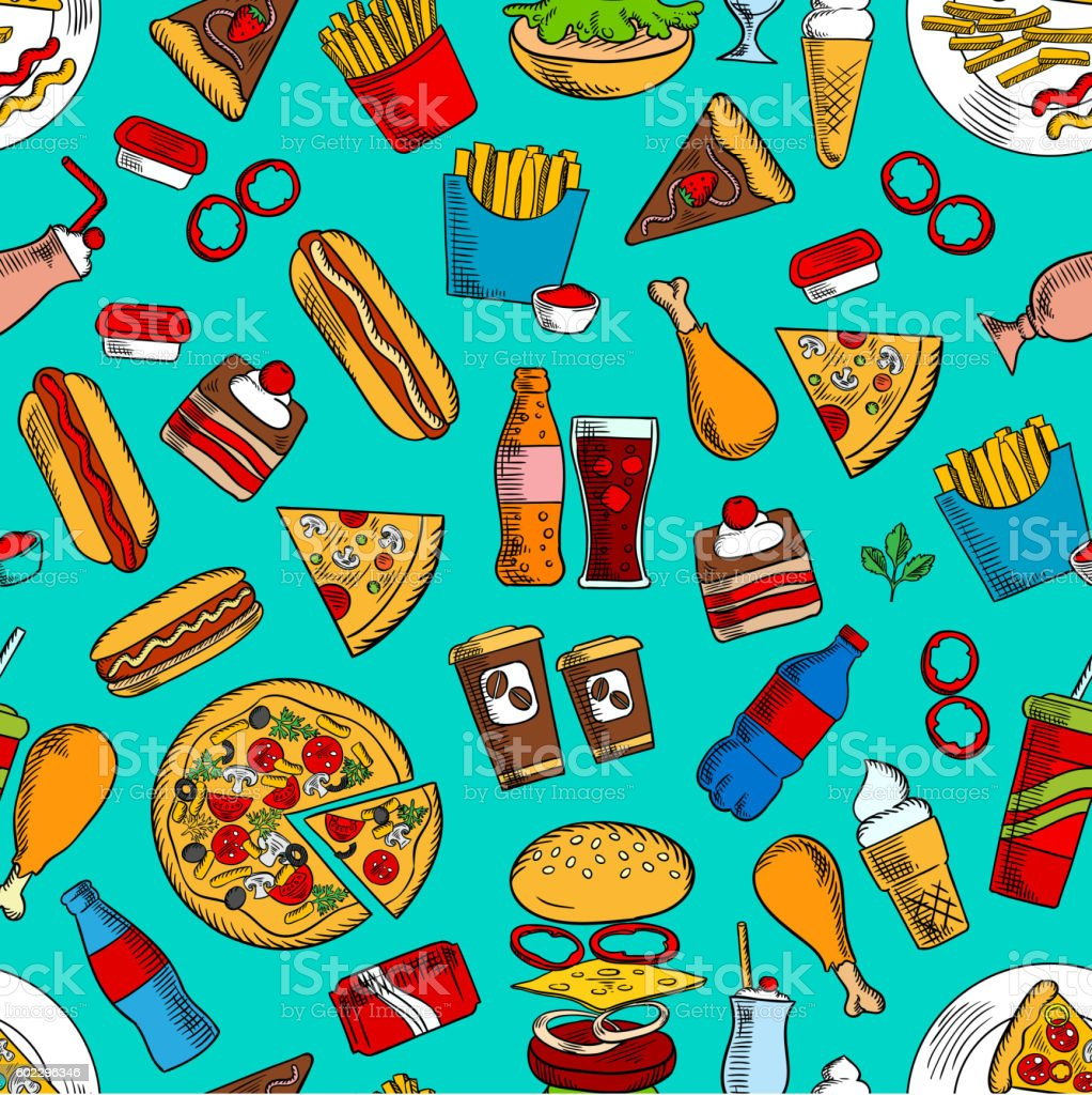 Fast food sandwiches, drinks and desserts seamless pattern with...