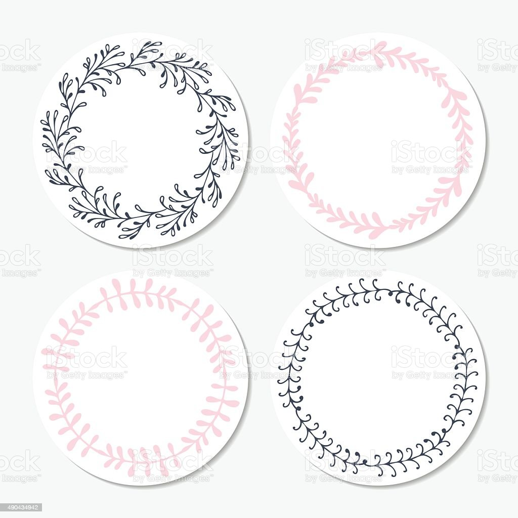 Fast food sticker templates collection. Hand drawn floral frame. Background vector art illustration
