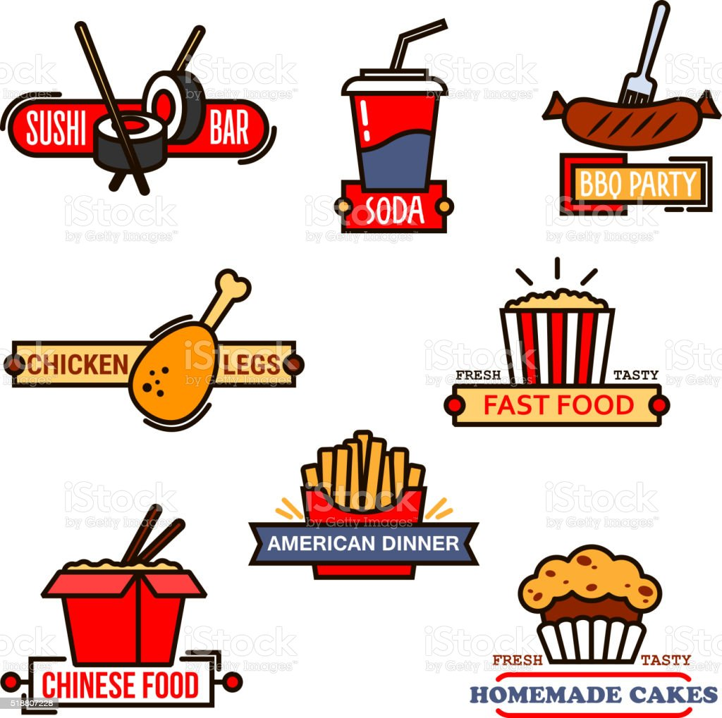Fast food, sushi bar and bakery icons vector art illustration