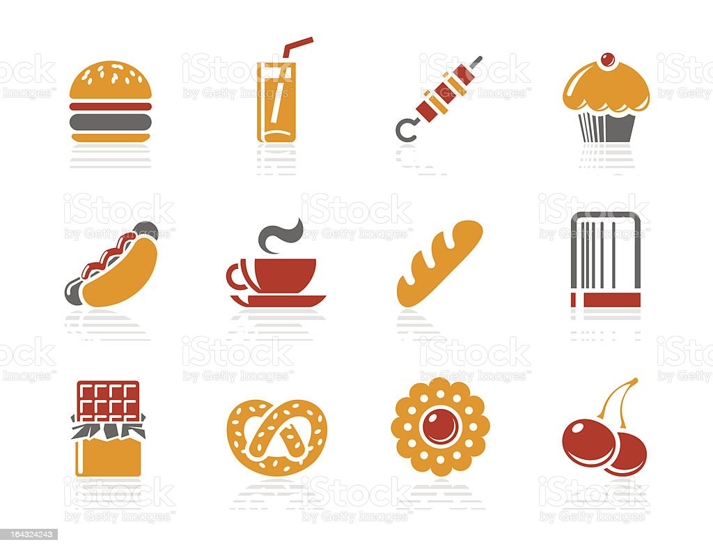 Fast food, Sweeties and Bakery icons | Sunshine Hotel series vector art illustration