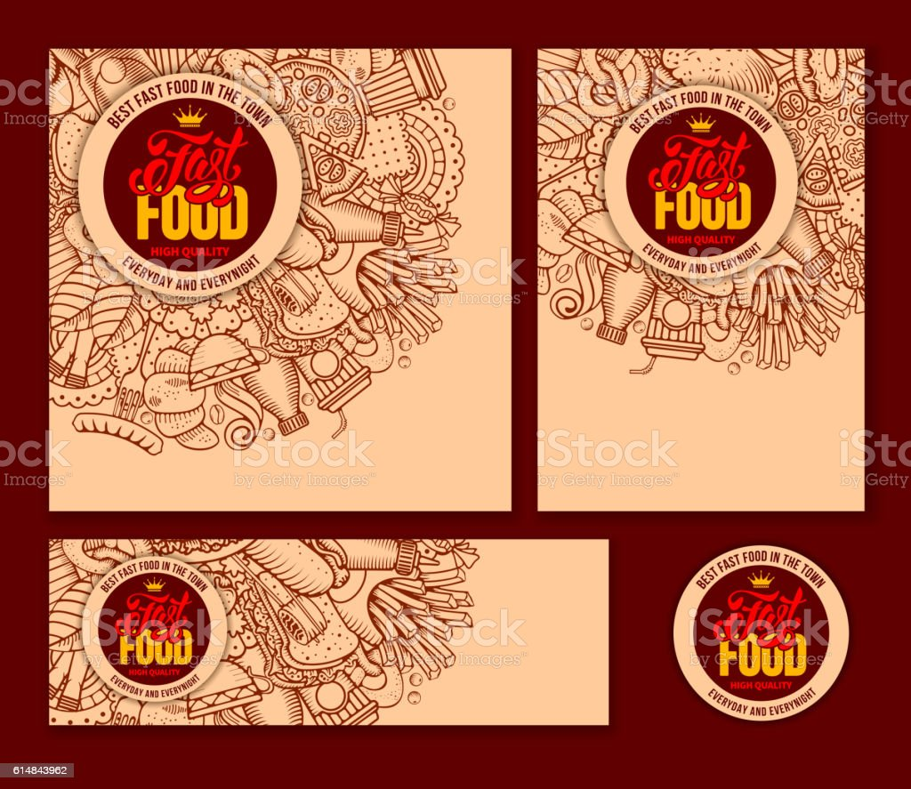 Fast Food Templates Set vector art illustration