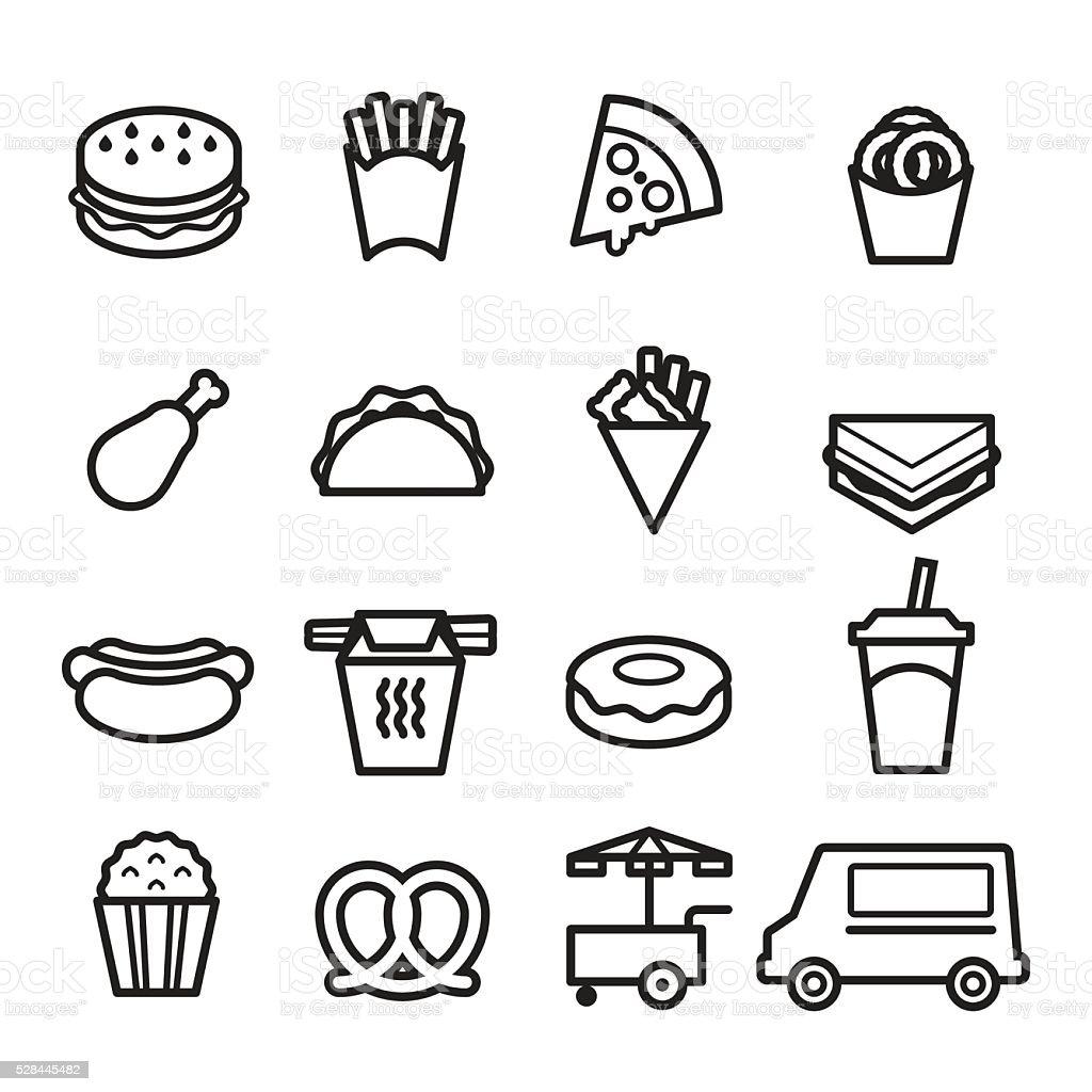 Fast Food Thin Line Icons vector art illustration