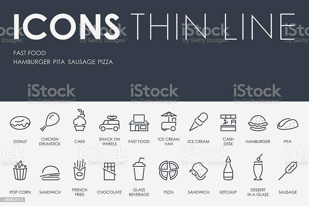 Fast Food Thin Line Icons vector art illustration