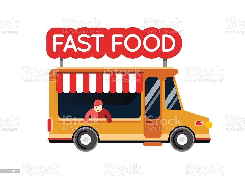 Fast food truck city car. Food hipster truck vector art illustration