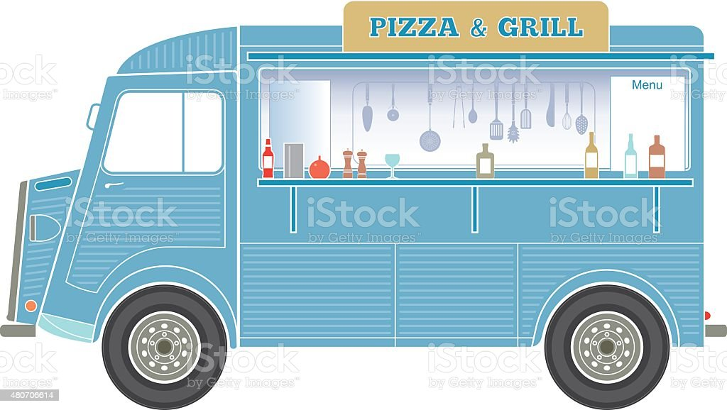 Fast food van illustration vector art illustration