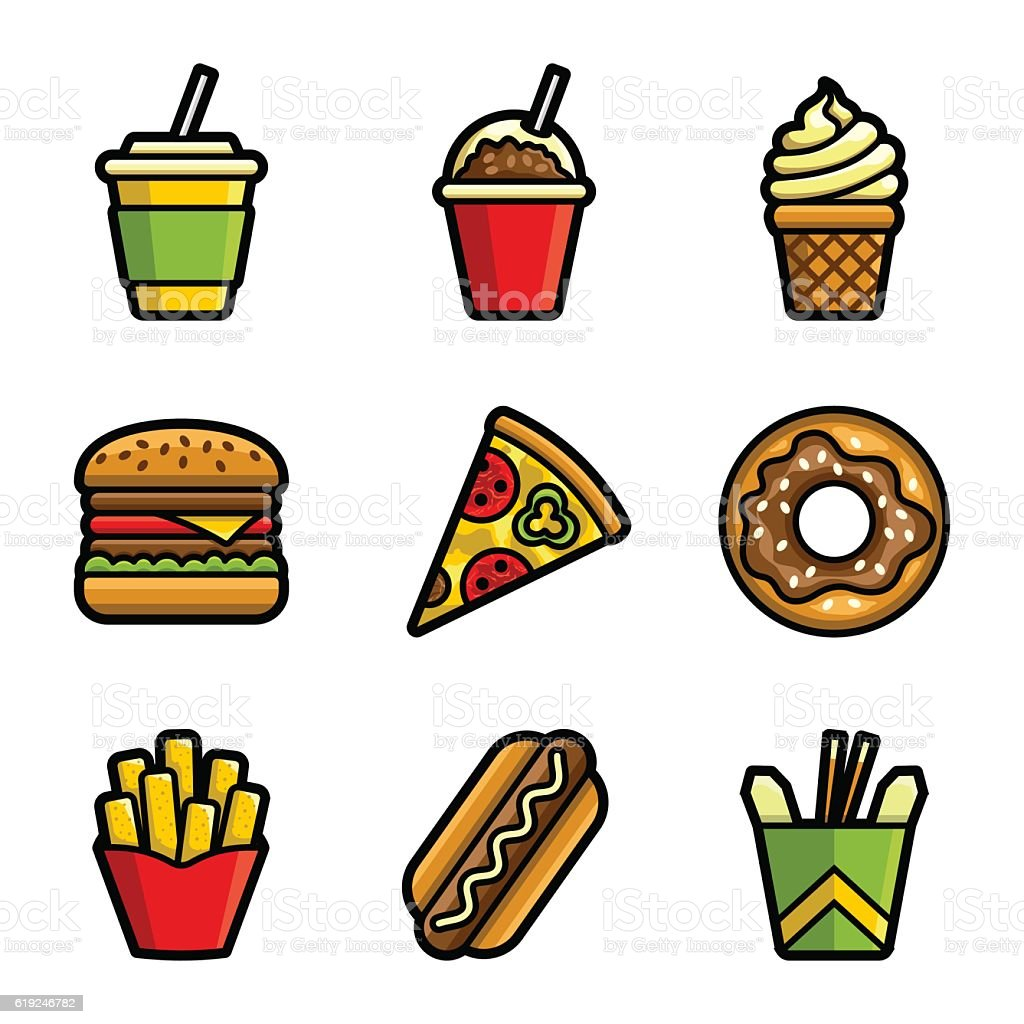 Fast food vector colored icon set vector art illustration