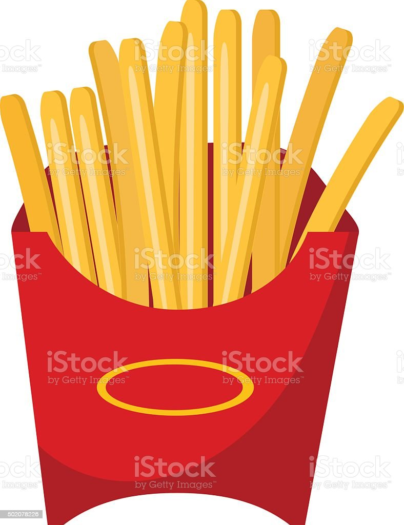 fast food vector icon with fried potatoes vector art illustration