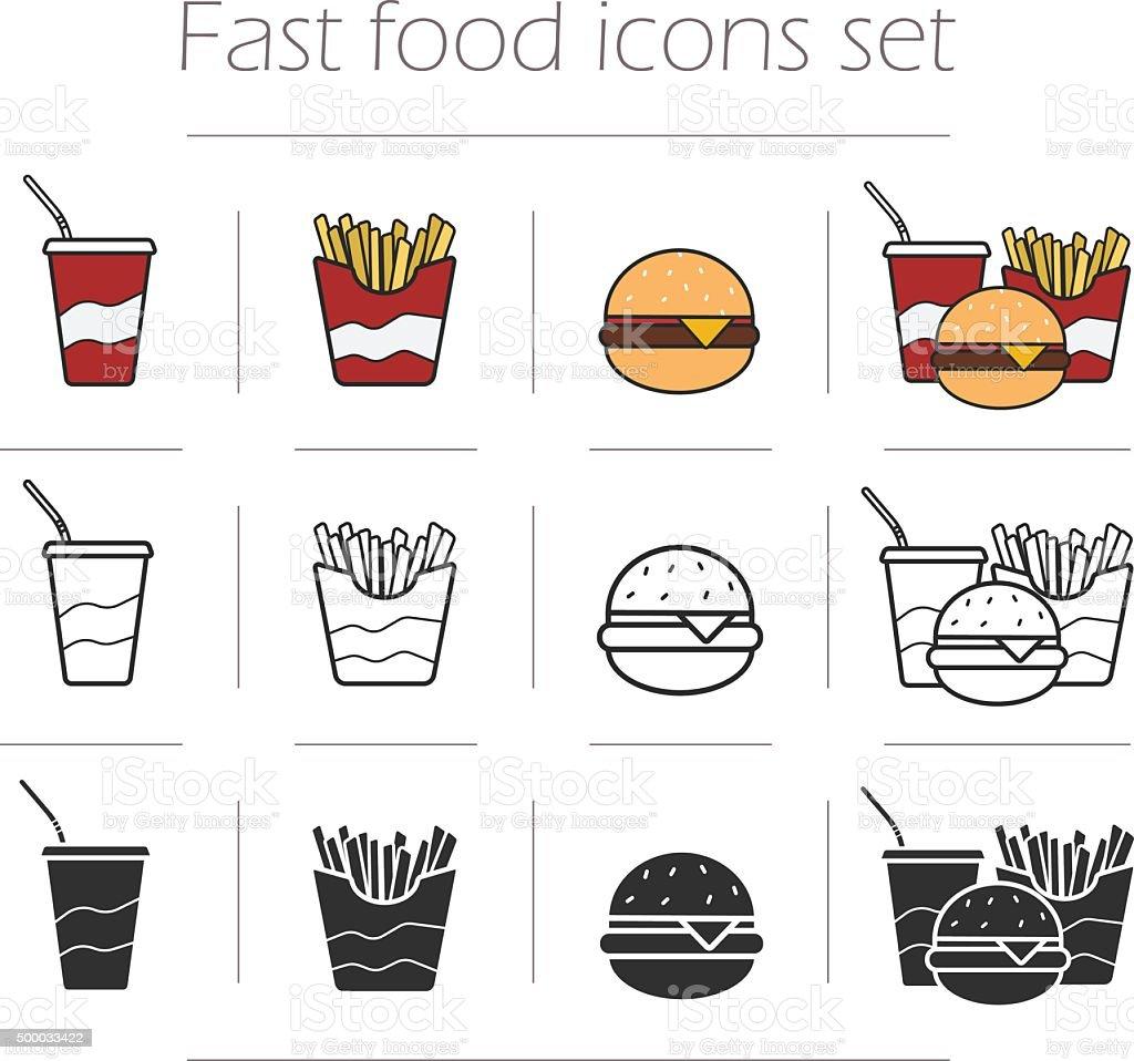 Fast food vector icons set vector art illustration