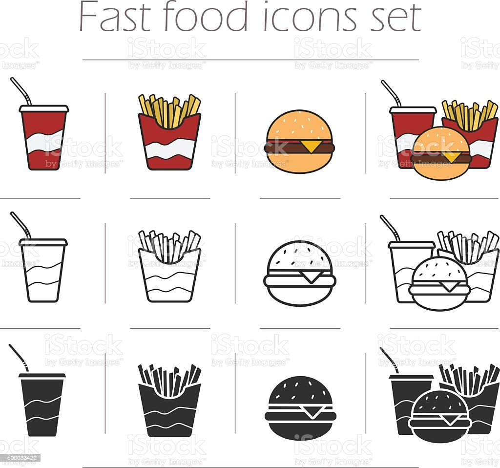Fast food vector icons set vector art illustration