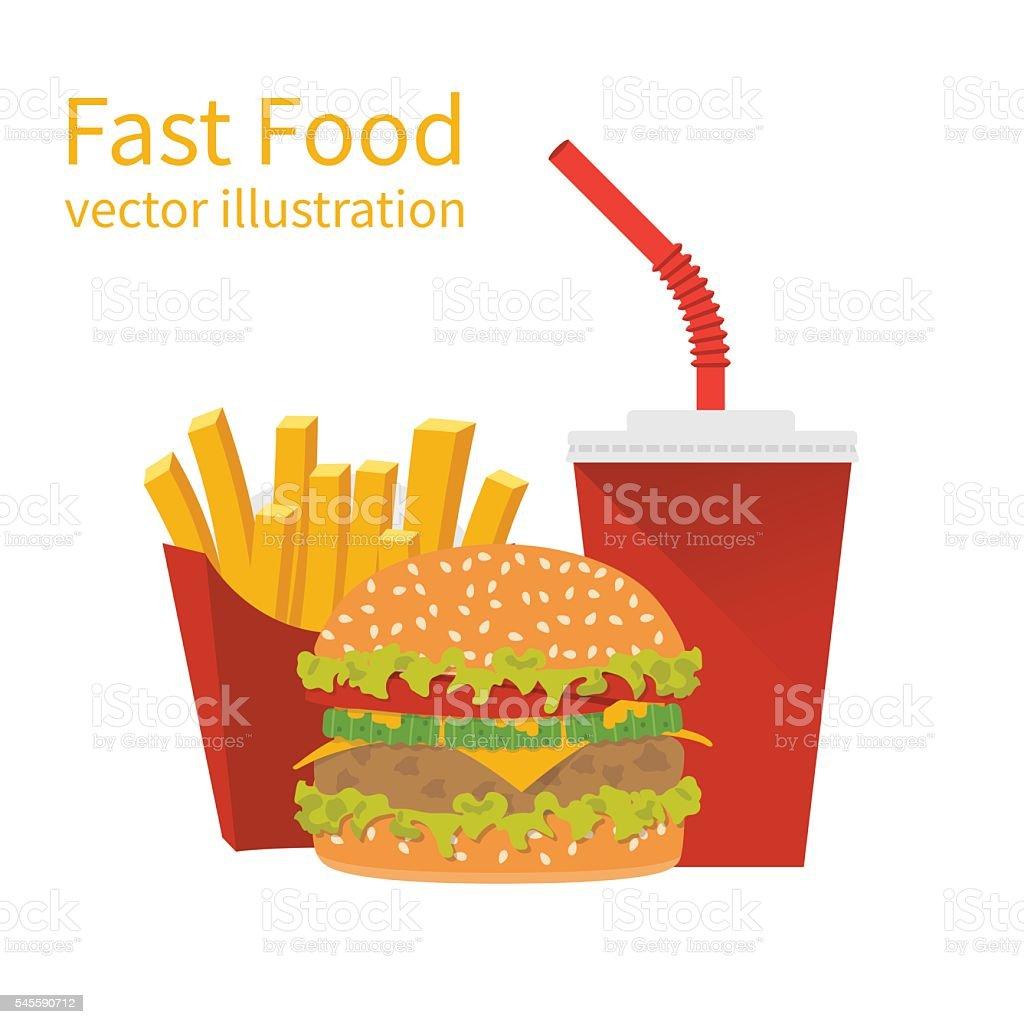 Fast food, vector illustration vector art illustration