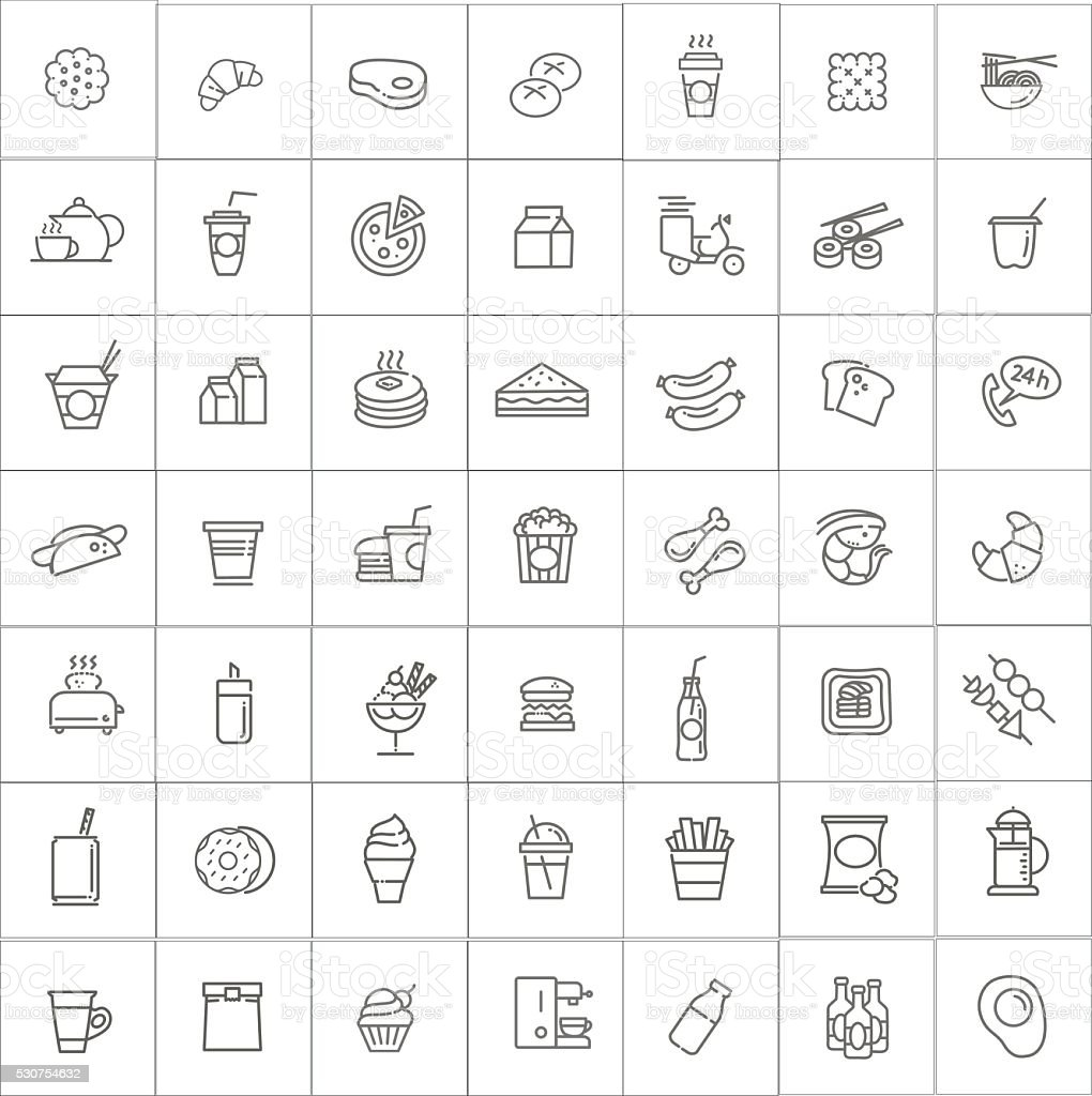 Fast food vector outline icons set. Cooking vector art illustration