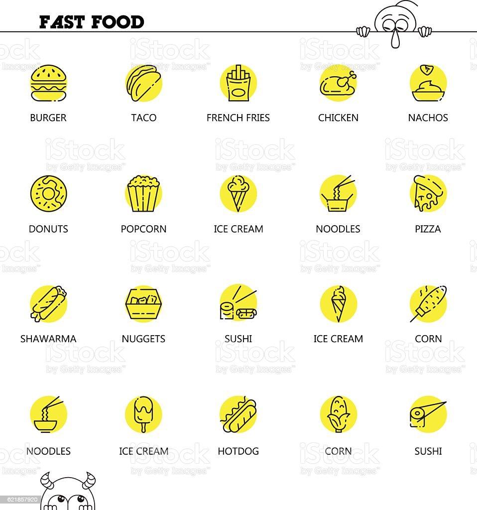 Fast foodline icon set vector art illustration