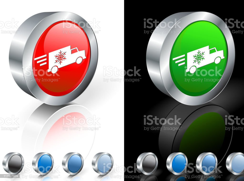 Fast holiday delivery truck 3D icon with color options royalty-free stock vector art