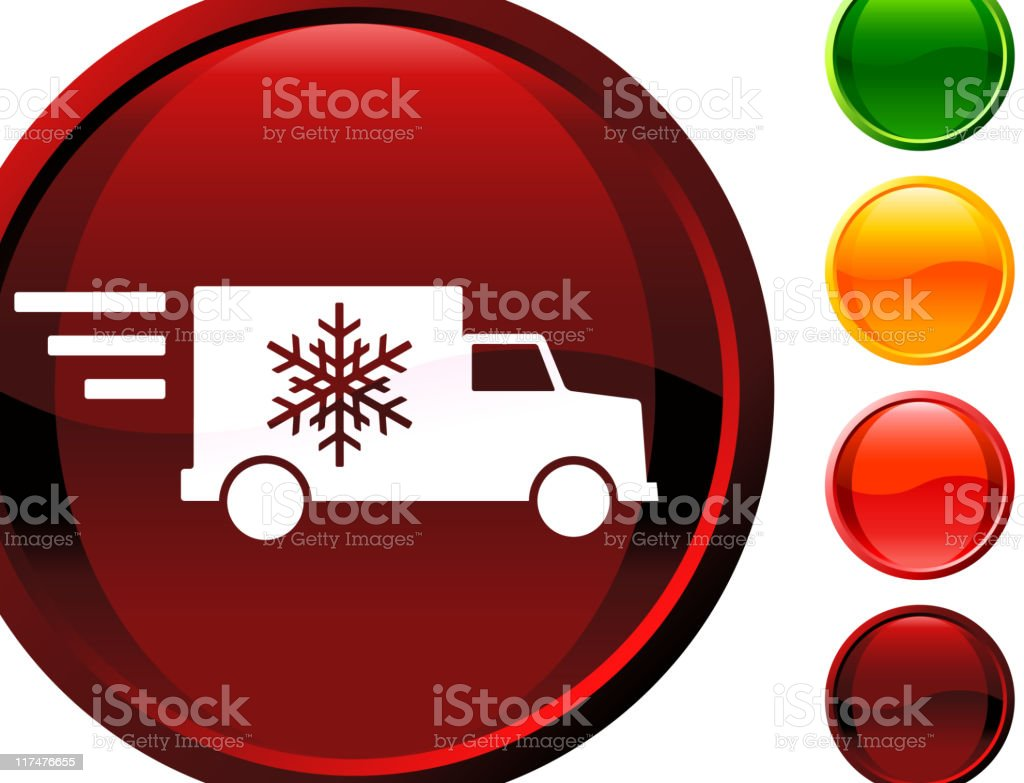Fast holiday delivery truck glossy icon vector art illustration