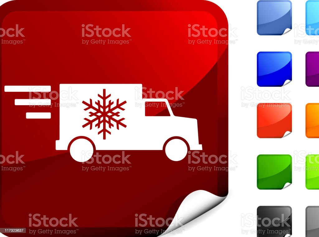 Fast holiday delivery truck royalty free vector art sticker vector art illustration