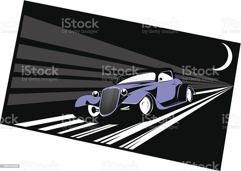 Fast Hot Rod at night vector art illustration