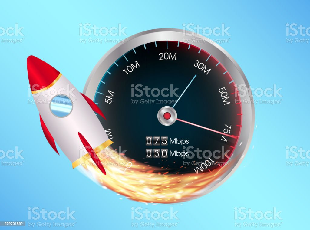 fast internet speed test meter with toy space rocket vector art illustration