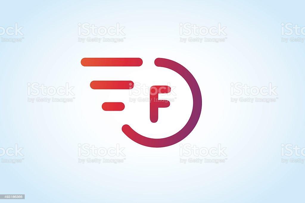 Fast line F vector letter monogram vector art illustration