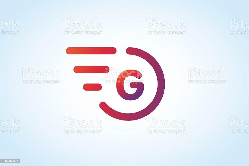 Fast line vector letter G monogram vector art illustration