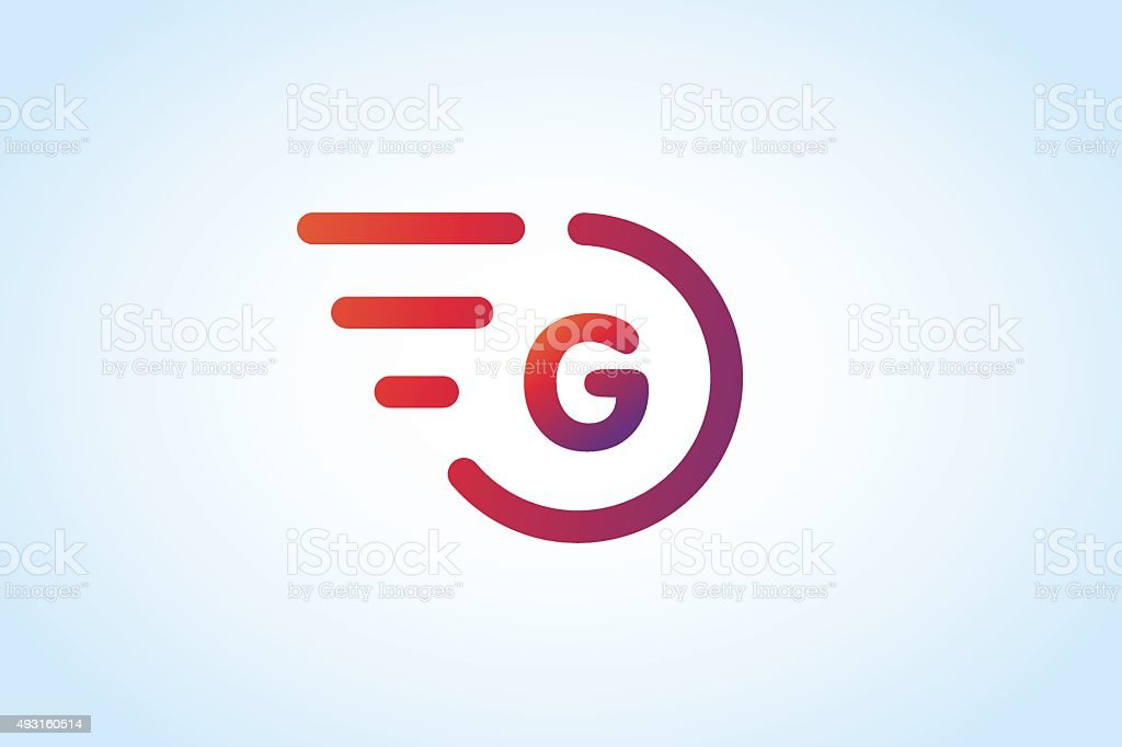Fast line vector letter G monogram vector art illustration